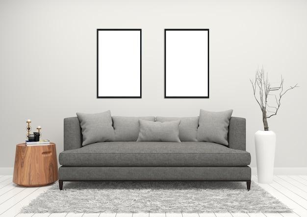 Photo frame white wall gray sofa background interior living room ...