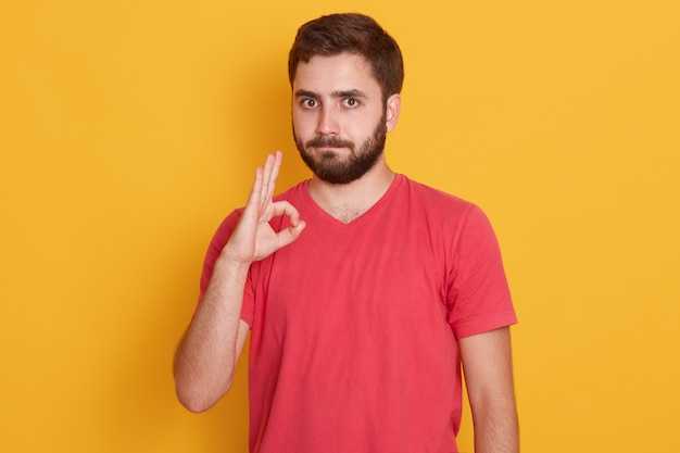 Photo of handsome man with dark hair, wearing yellow t shirt, isolated on yellow, showing ok sign, bearded man with calm facial experession. people concept. Free Photo
