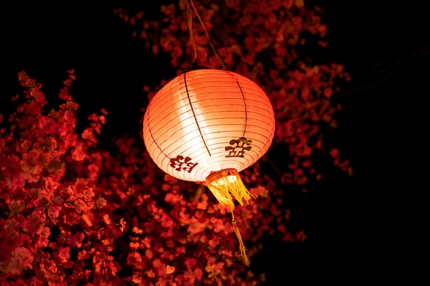 Photo of hanging chinese red lantern in the nigh. traditional oriental red lamp. Premium Photo
