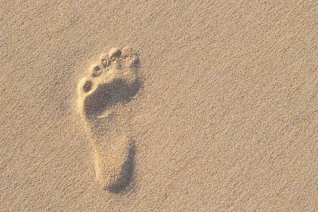 Photo of left human footprint on sand Premium Photo