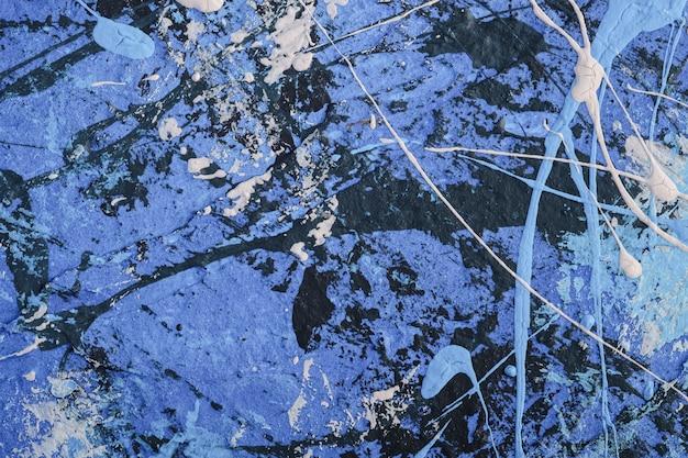 青、黒と白のグランジパステルカラー、ペイント、スプラッシュドロップの背景で創造的な織り目加工の表面の写真 Premium写真