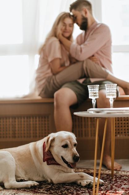 首にスカーフを巻いた白いラブラドールの写真が、主人の背景に横たわっています。恋人のペアは窓辺に座っています。 無料写真