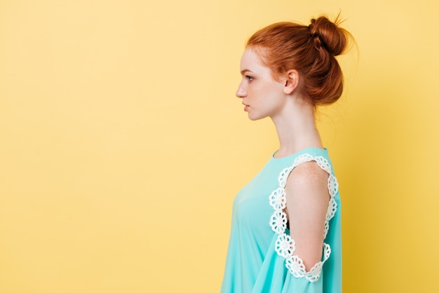 Photo in profile of pretty ginger woman in dress Free Photo