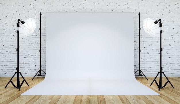 Photo studio lighting set up with white backdrop, 3d rendering Premium Photo