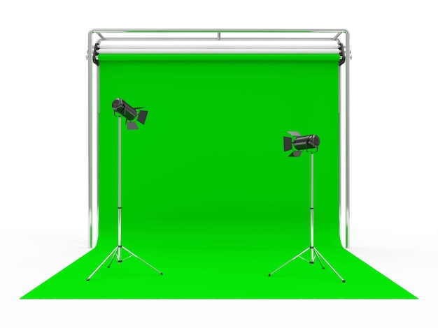 Photo studio with green screen and light equipment Premium Photo