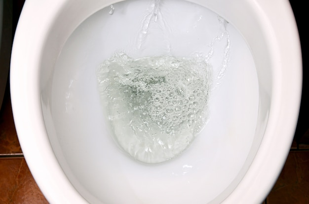 A photo of a white ceramic toilet bowl in the process of washing it off. Premium Photo