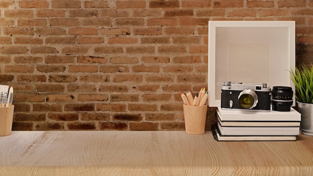 Photographer loft workspace and copy space Premium Photo