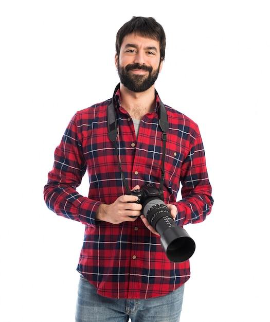 Photographer over white background Free Photo