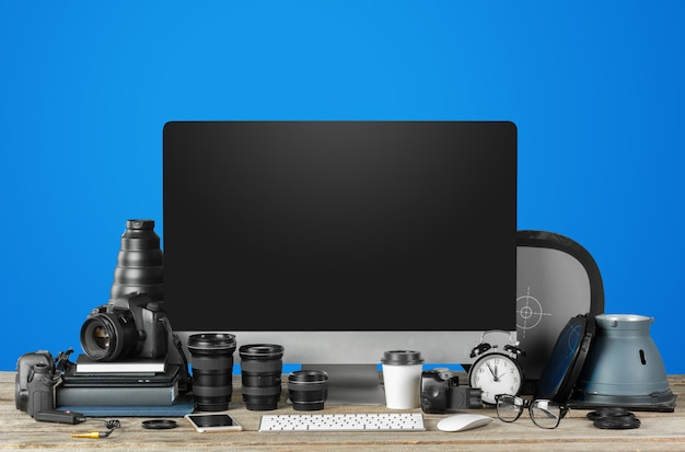 Photographer work station, work space Premium Photo
