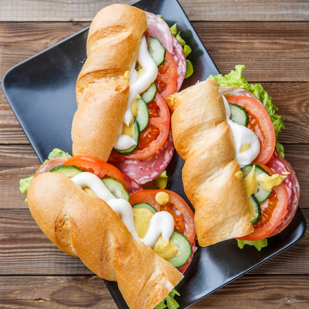 Photography of sandwiches with sausage Premium Photo