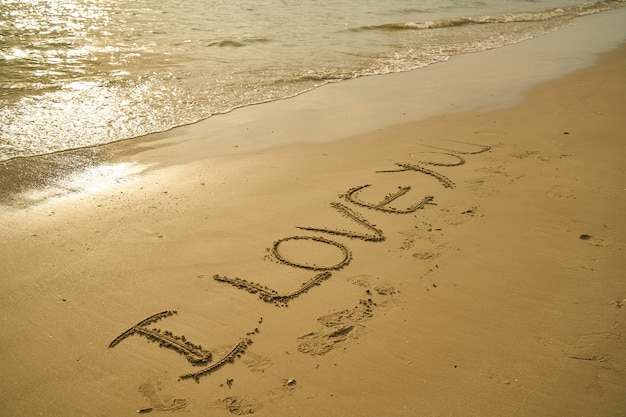"Fotografía De I Love You Escrito En La Arena De La Playa: Phrase ""i Love You"" Written In The Sand Photo"