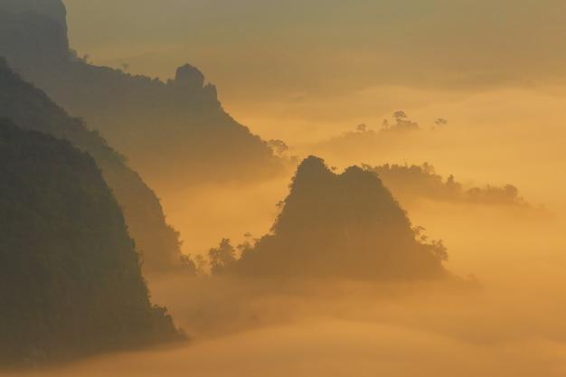 太陽の光と朝の霧の雲phu lang ka、パヤオ、タイで Premium写真