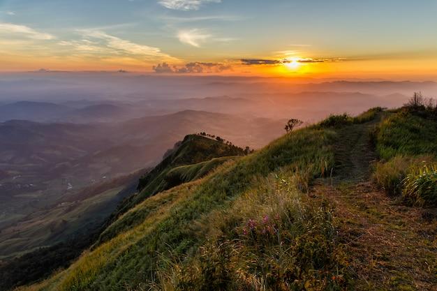 Phu lanka mountain in warm tone at sunset time Premium Photo