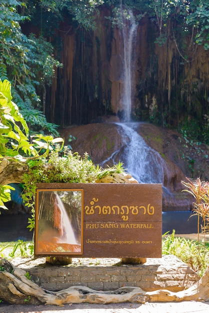 Phu sang waterfall with water only in thailand. -36 to 35 degree celsius water temperatures that flows from a limestone cliff 25 meters high. Premium Photo