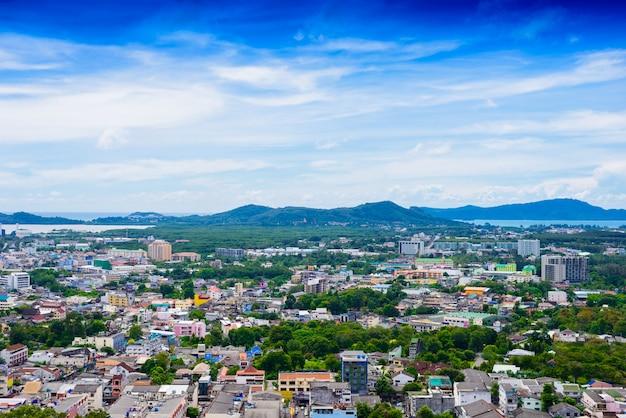 Phuket town top view from rang hill Premium Photo
