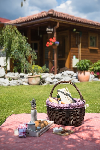 Picnic basket on checkered blanket over green grass Free Photo