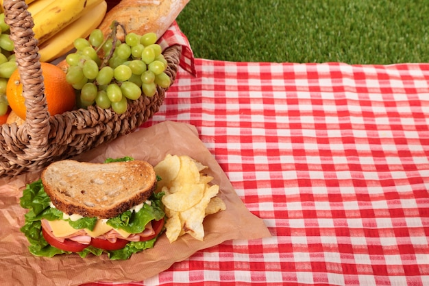Picnic basket with sandwich and copy space Free Photo