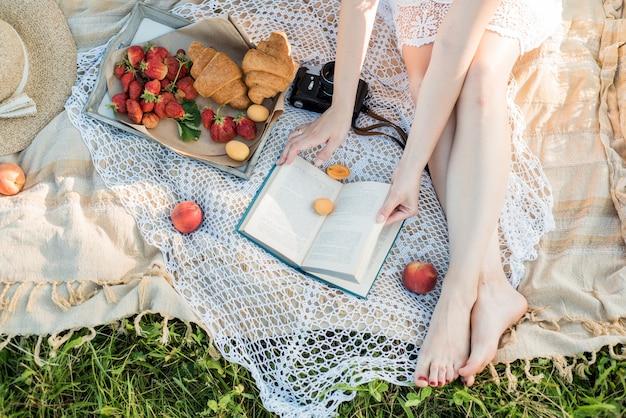 村の野原でのピクニック。帽子、レトロなカメラ。かごの中の新鮮な果物と自然の花。屋外で、休日にリラックス Premium写真