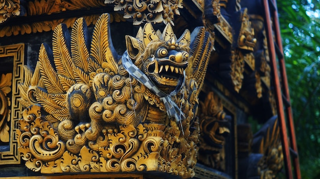 Picture of balinese statue in a temple Premium Photo