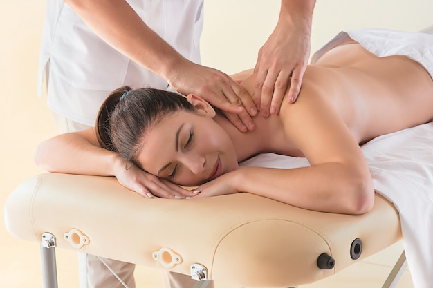 The picture of beautiful woman in massage salon Free Photo