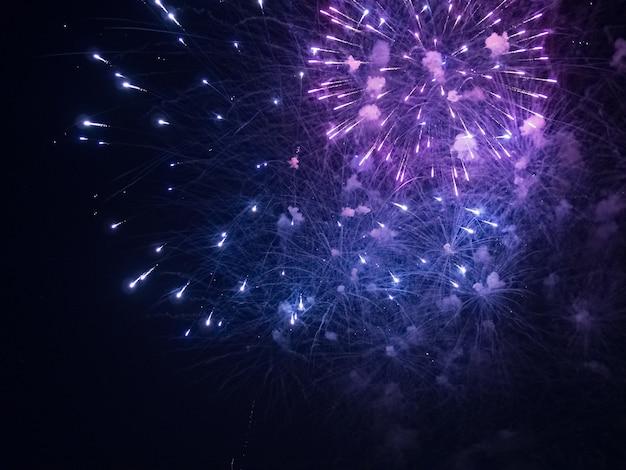 Foto di fuochi d'artificio blu e viola durante la notte Foto Gratuite
