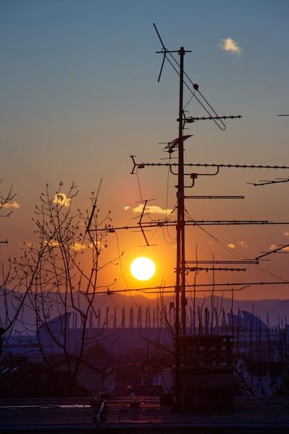 クロアチアのザグレブで日没時に屋根の上のツリーとテレビのアンテナシルエットの写真 無料写真