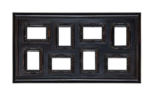 Picture photo frame antique with eight windows inside isolated on white Premium Photo