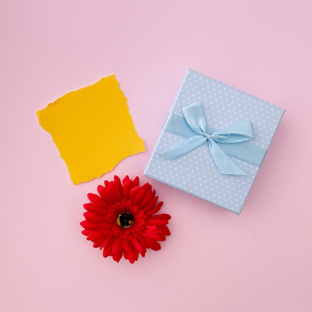 Picture of scrap of yellow paper with a blue gift Free Photo