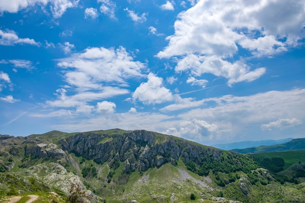 Picturesque high mountains in the north of montenegro in the national park durmitor. Premium Photo