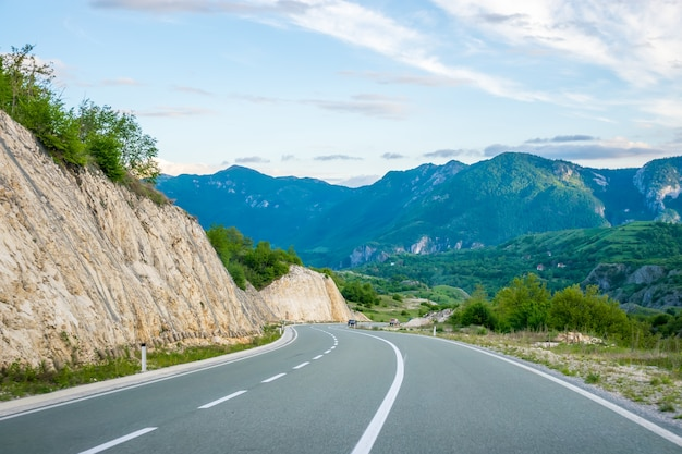 A picturesque journey along the roads of montenegro among rocks and tunnels Premium Photo