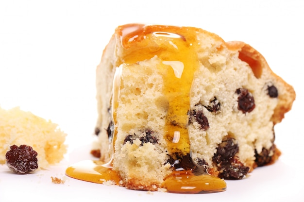 Piece of fresh cake with honey Free Photo