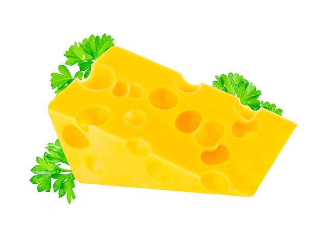 Кусок швейцарского сыра эмменталь с листьями Бесплатные Фотографии