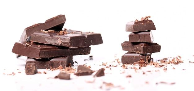 Pieces of black chocolate Free Photo