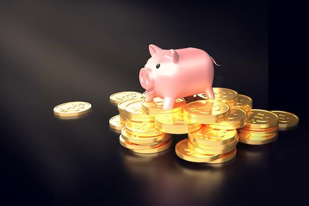 コインの山に豚の貯金箱ビットコイン Premium写真