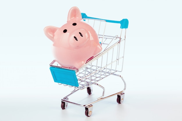 Piggy bank and empty shopping cart isolated Premium Photo