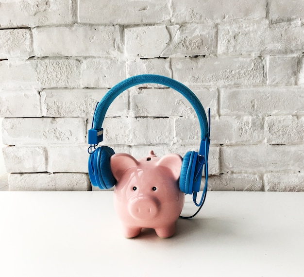 Piggy bank headphones style trend Free Photo