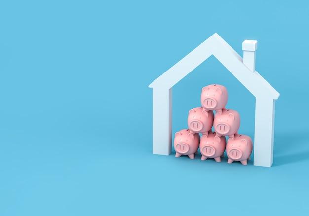 Piggy bank and house Premium Photo