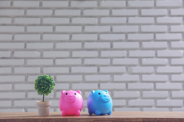 Piggy bank and pot on the table with white wall. Free Photo