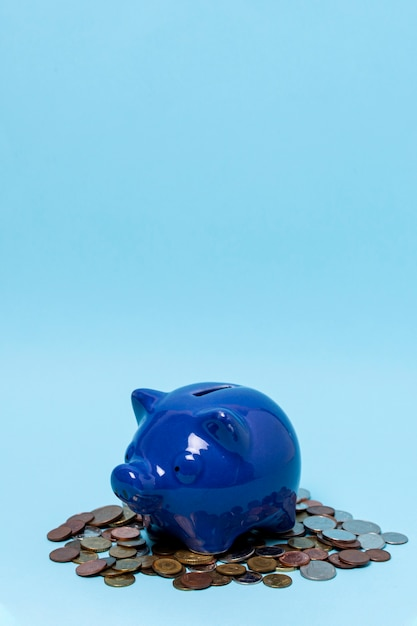 Piggy bank above a stack of coins Free Photo