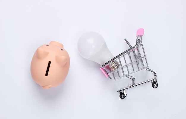 Piggy bank with shopping cart and lightbulb