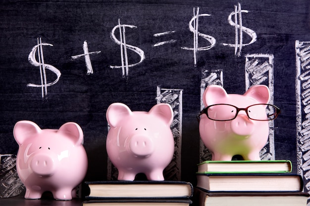 Piggy banks with savings formula Premium Photo