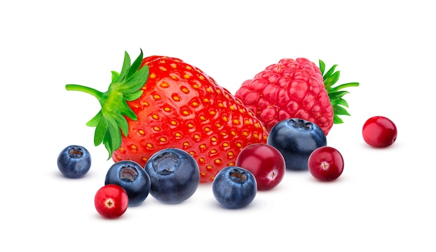Pile of different wild berries isolated on white background with clipping path. Premium Photo