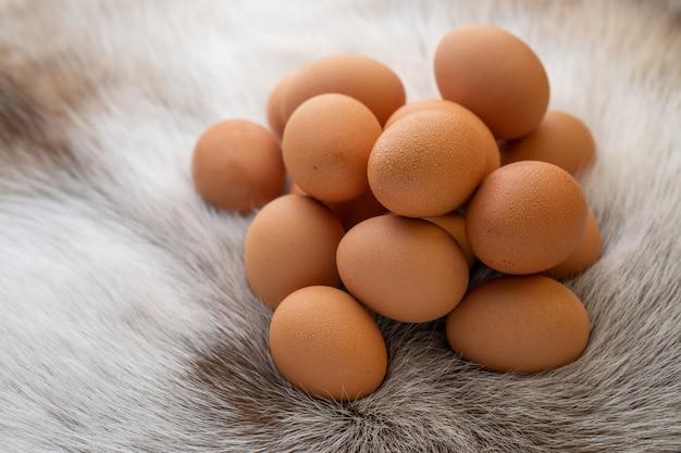 Куча яиц на меху Premium Фотографии