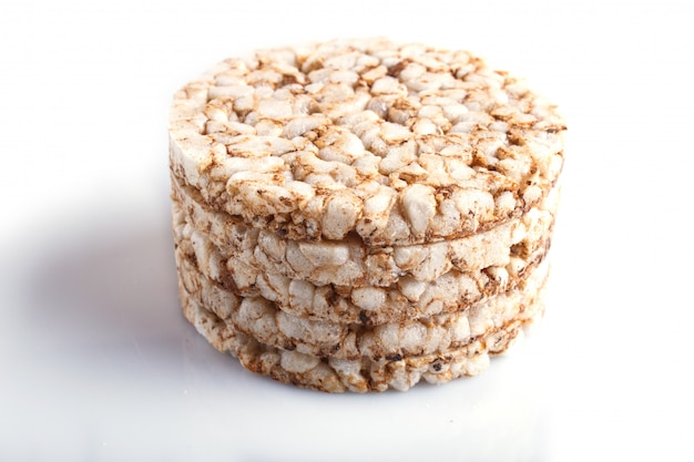 Pile of five rice cakes isolated on white. Premium Photo
