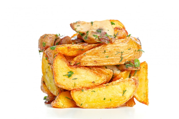 Pile of french fries isolated on white Premium Photo