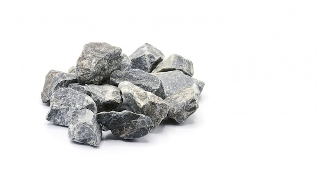 Pile of a gey rock isolated on white background Premium Photo
