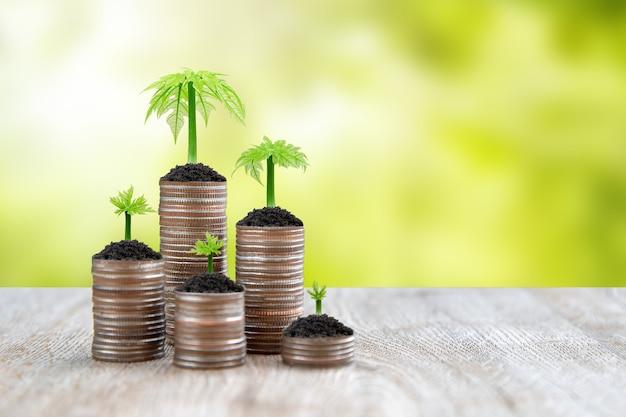 Куча монет сложена в виде графа с молодым деревом для идей экономии денег Premium Фотографии
