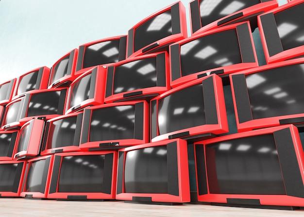 古いレトロなテレビ受信機の山、3d Premium写真