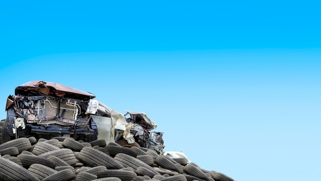 Pile of old tires with white background Premium Photo