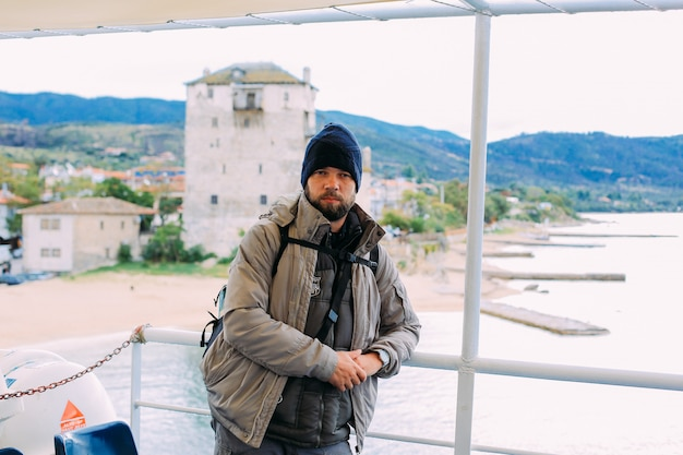 Pilgrims take a ferry to the holy mountain athos Premium Photo